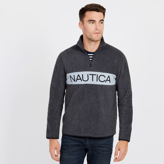 Chest Logo Nautex Quarter-Zip Active Pullover,Charcoal Heather,large