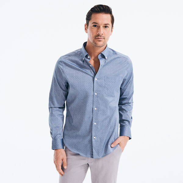 CLASSIC FIT WRINKLE-RESISTANT PRINTED SHIRT - Estate Blue