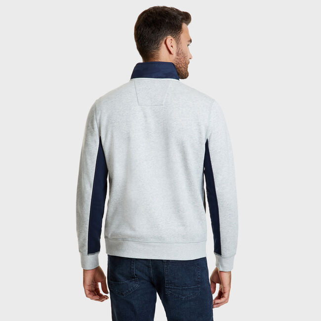 Long Sleeve Colorblock Half-Snap Classic Fit Polo,Grey Heather,large