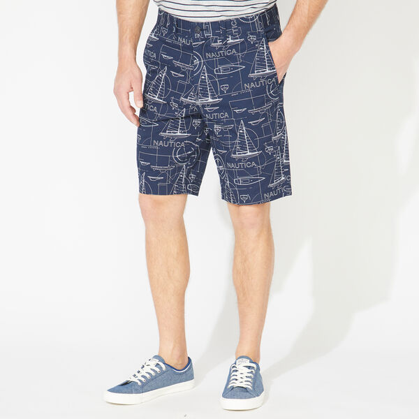 "9.5"" SLIM FIT SCHEMATIC PRINT SHORT - Navy"