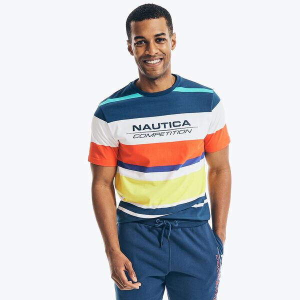 COMPETITION MULTICOLOR STRIPED T-SHIRT - Navy