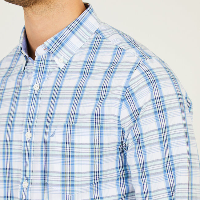 Long Sleeve Slim Fit Plaid Button Down,Riviera Blue,large