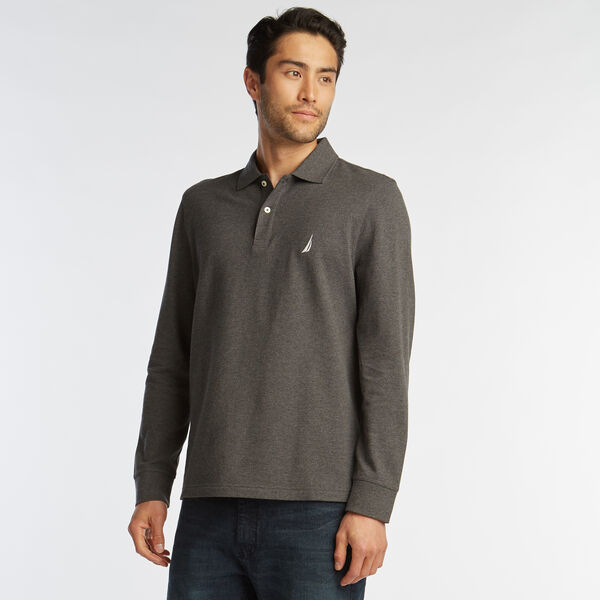 CLASSIC FIT LONG SLEEVE MESH POLO - Charcoal Heather