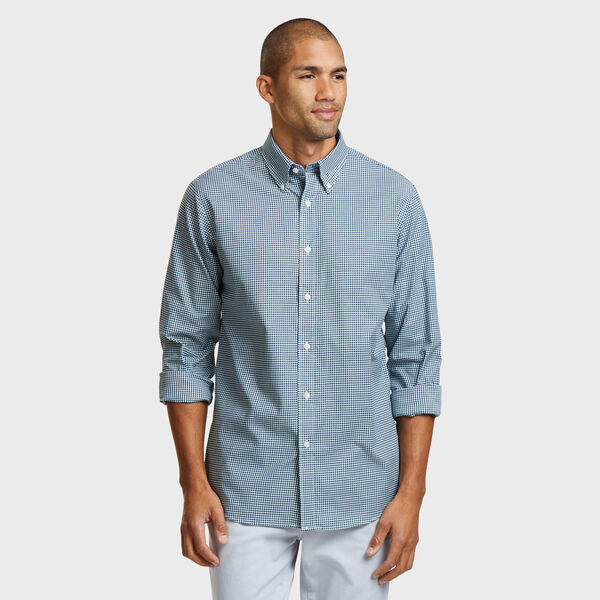 IRON FREE CLASSIC FIT SHIRT IN GREEN SMALL TATTERSALL - Sea Glass Aqua