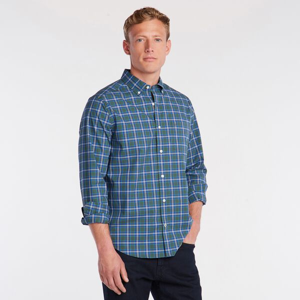 BIG & TALL CLASSIC FIT WRINKLE-RESISTANT PLAID SHIRT - Pineforest