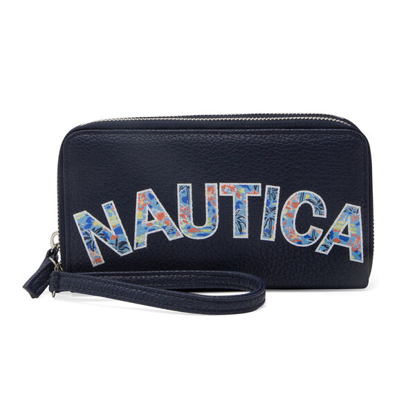 Heritage Logo Double Zip-Around Wristlet - Navy