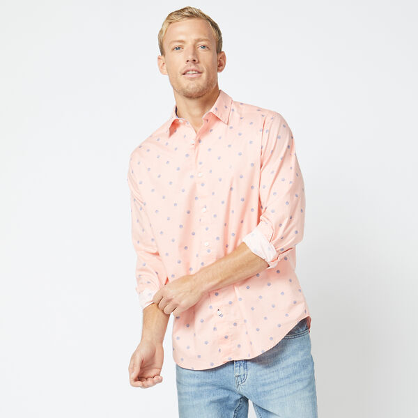 CLASSIC FIT LONG SLEEVE SHELL PRINT SHIRT - Peach Glow