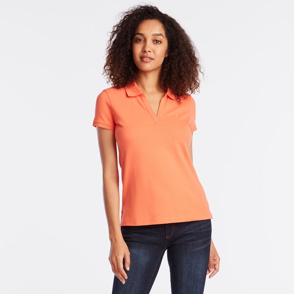 SPLIT NECK POLO SHIRT - Livng Coral