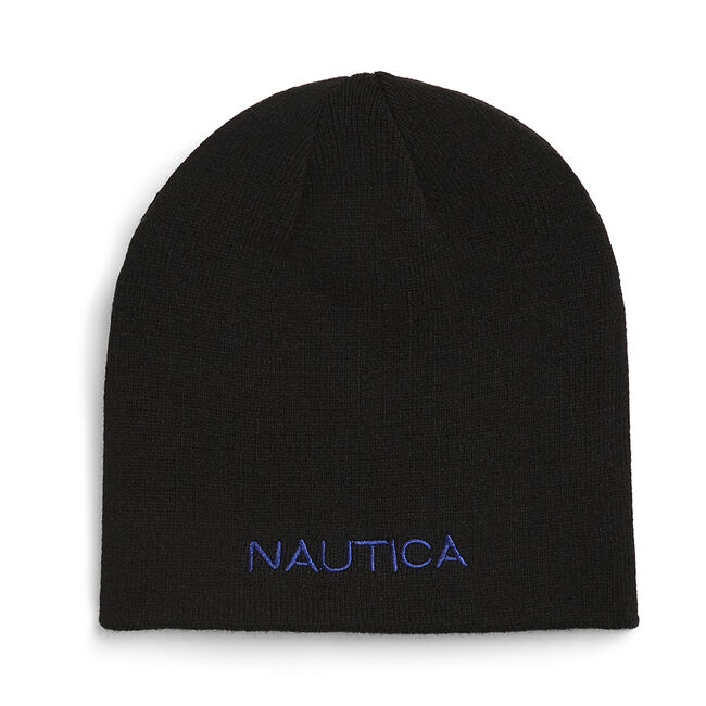 REVERSIBLE LOGO BEANIE,True Black,large