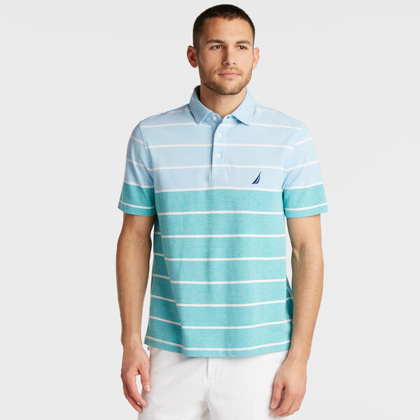 CLASSIC FIT OXFORD POLO IN VARIEGATED STRIPE - Alaskan Blue