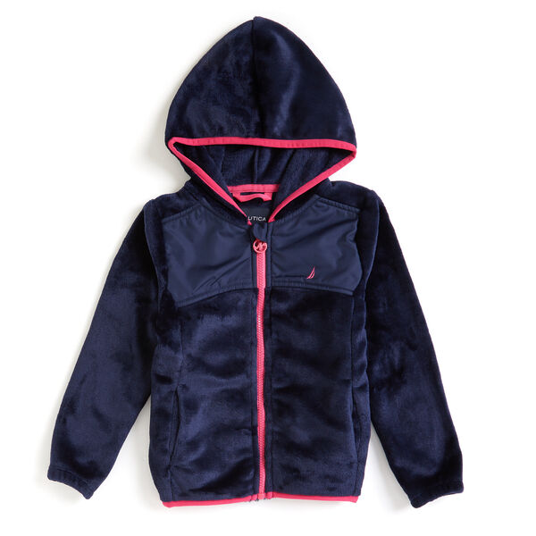 Little Girls' Micro Fleece Nautex Full-Zip Hoodie (4-6X) - Navy