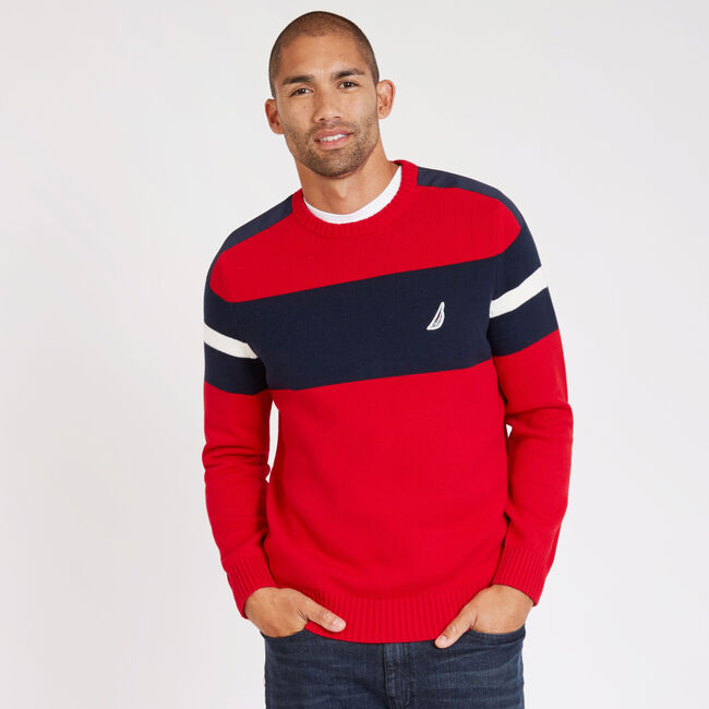 Challenger Crewneck Striped Sweater,Nautica Red,large