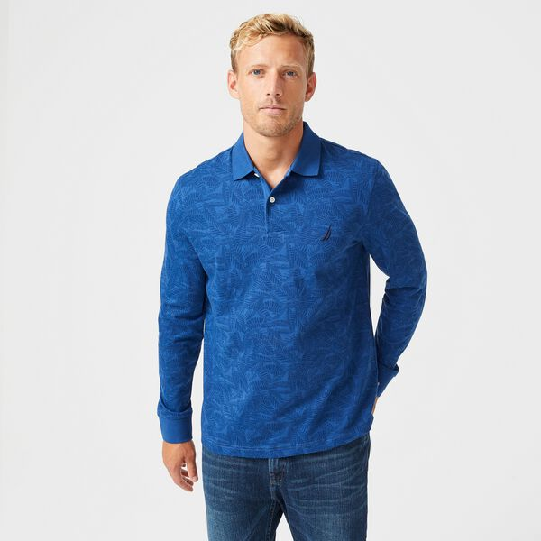 CLASSIC FIT LEAF PRINT LONG SLEEVE POLO - Pure Adriatic Sea Wash