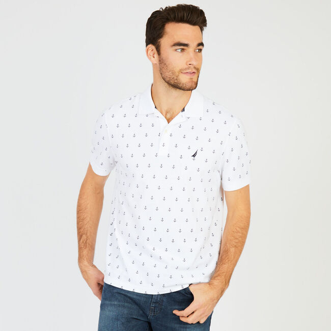 Anchor Motif Classic Fit Performance Polo,Bright White,large