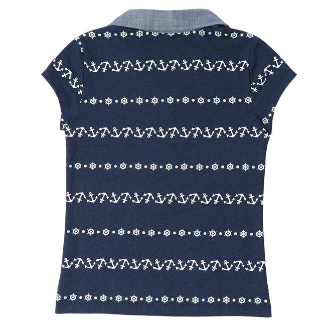 Little Girls' Chambray Trim Anchor Polo Shirt (2T-7),Navy,large