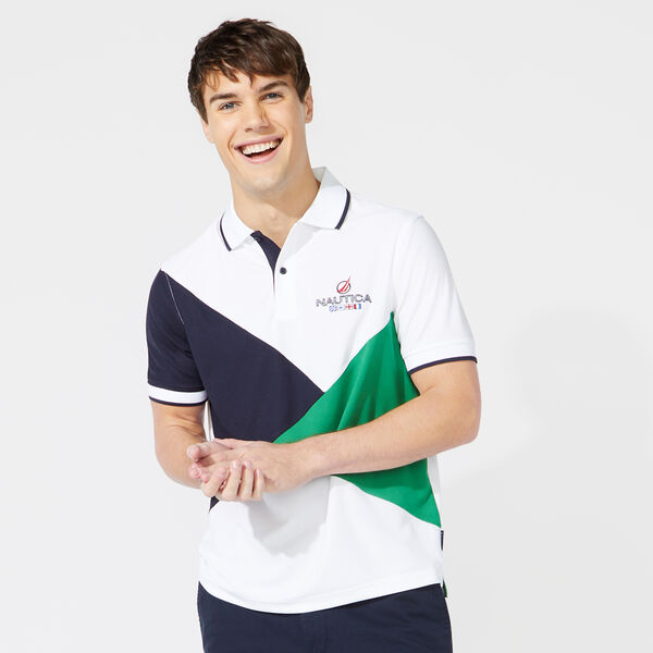 CLASSIC FIT DIAGONAL COLORBLOCK POLO - Bright White