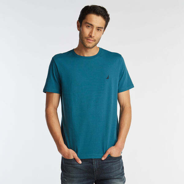 SOLID SHORT SLEEVE CREWNECK T-SHIRT - Blue Heather