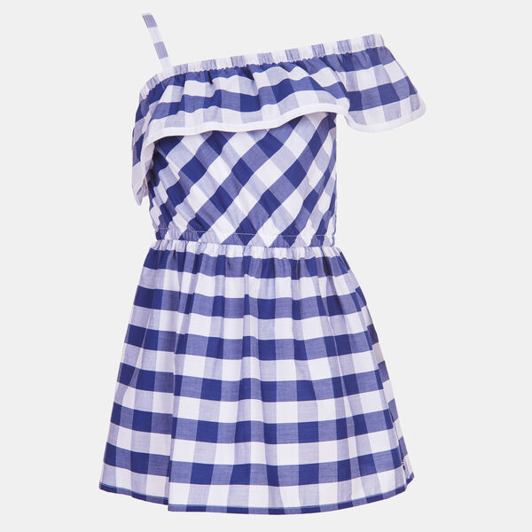 LITTLE GIRLS' GINGHAM RUFFLE ONE SHOULDER DRESS (4-7) - Aqua Isle