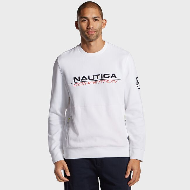 Competition Crewneck Pullover,Bright White,large