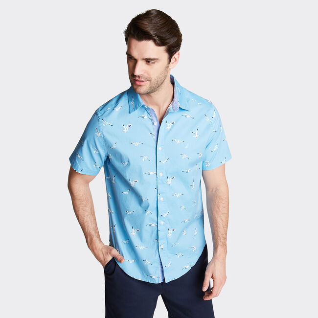 CLASSIC FIT SHORT SLEEVE OXFORD SHIRT IN PRINT,Alaskan Blue,large