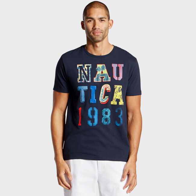 Nautica 1983 Jersey T-Shirt,Pure Dark Pacific Wash,large