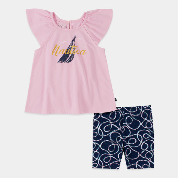 TODDLER GIRLS' J-CLASS ROPE PRINT 2 PC BIKE SHORT SET (2T-4T) - Pink
