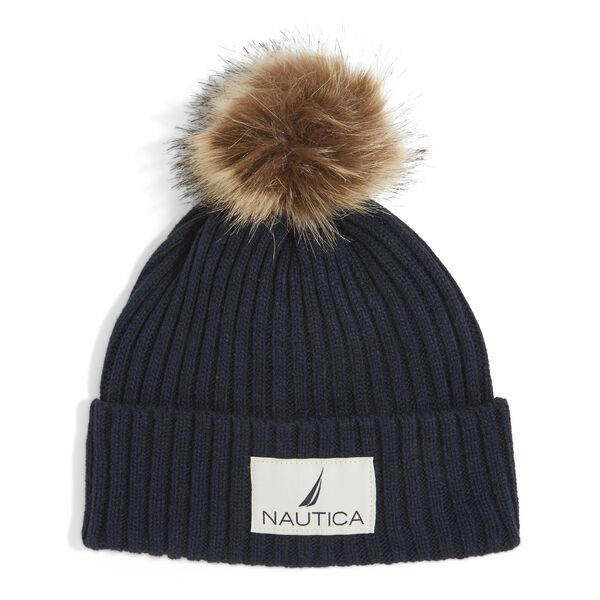 RIBBED HAT WITH FAUX FUR TRIM - Pure Dark Pacific Wash