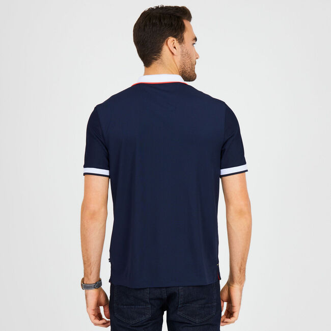 Classic Fit Tech Chest Stripe Polo,Navy,large