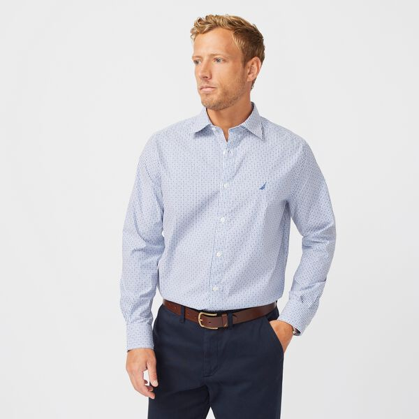 CLASSIC FIT WRINKLE-RESISTANT STRIPED SHIRT - Windsurf Blue