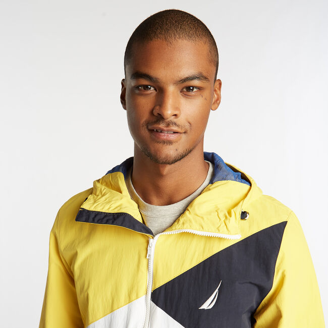 LIGHTWEIGHT JACKET IN COLORBLOCK,Buoy Yellow,large
