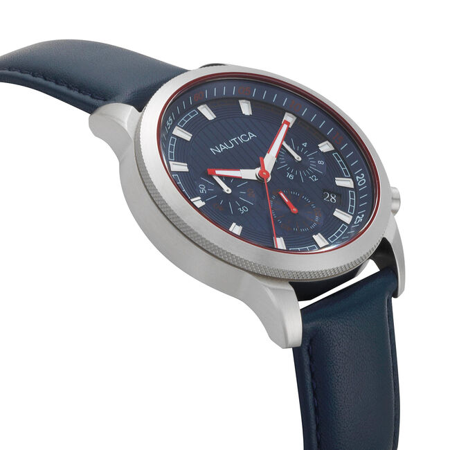 Taylor Leather Chronograph Watch - Navy,Navy,large