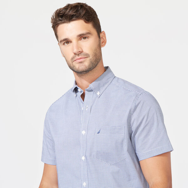 Wrinkle-Resistant Short Sleeve Classic Fit Shirt in Gingham - Monaco Blue
