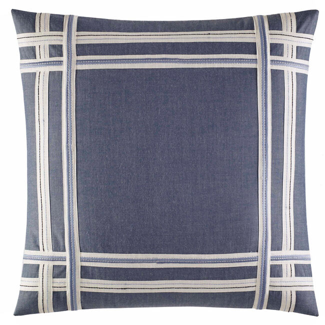 Fairwater Chambray Taped Applique Throw Pillow ,Bright Cobalt,large