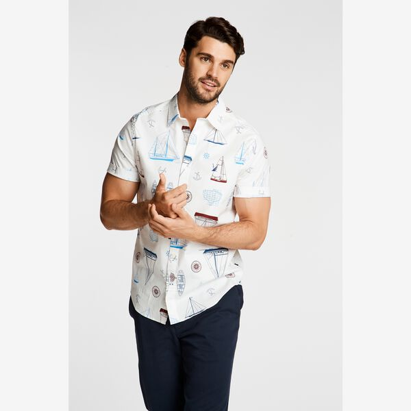 SHIP PRINT SHORT SLEEVE SHIRT - Bright White