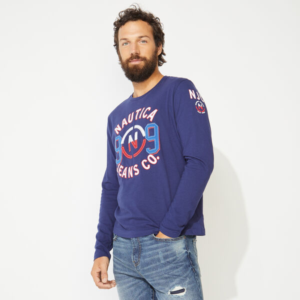 NAUTICA JEANS CO. GRAPHIC LONG SLEEVE T-SHIRT - J Navy