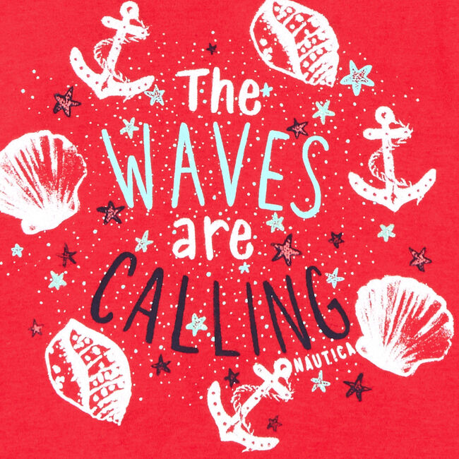 Little Girls' Waves-R-Calling High-Low Tank (4-6X),Buoy Red,large