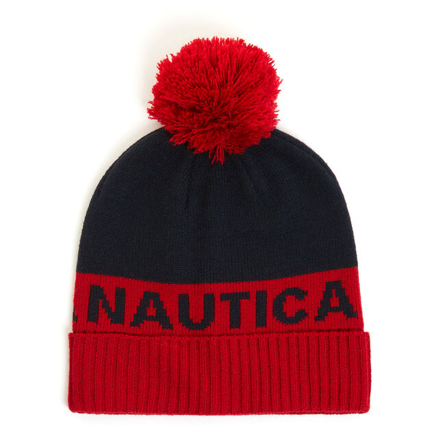 Knit Hat with Logo Pom,Nautica Red,large