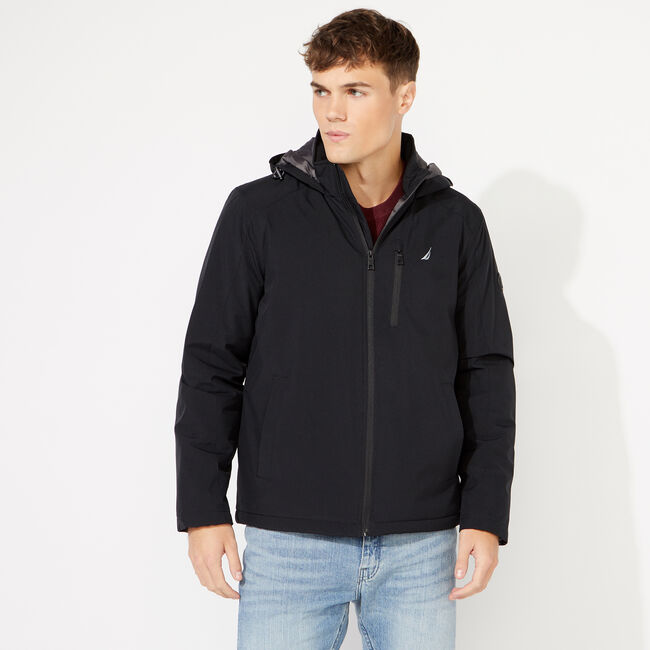 BIG & TALL HOODED ZIP FRONT JACKET,Black,large