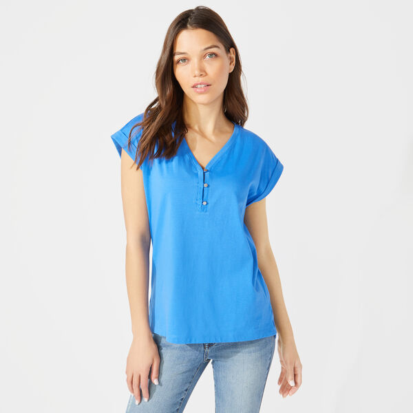 BUTTON DETAIL KNIT TOP - Reef Blue