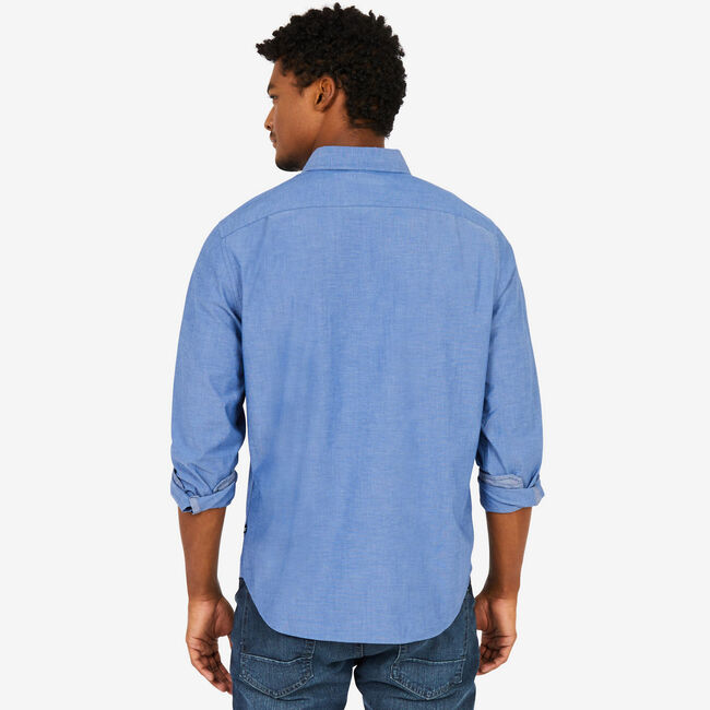 Soft Wash Long Sleeve Classic Fit Shirt,Riviera Blue,large