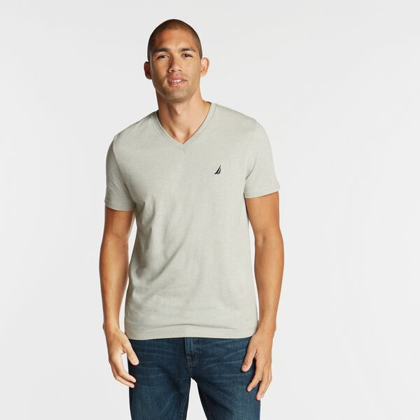 SOLID V-NECK SLIM FIT TEE - Grey Heather