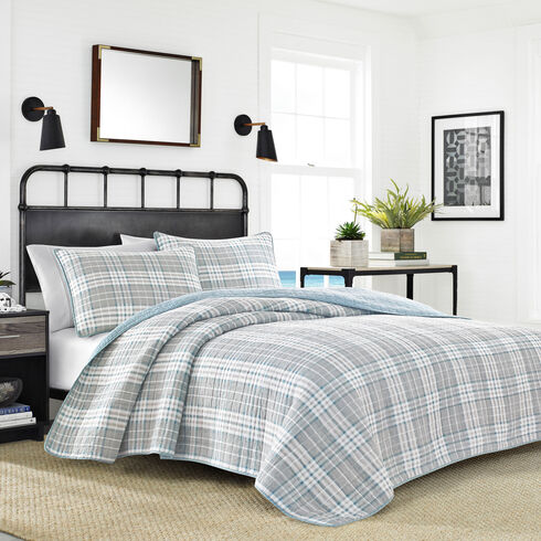 Millbrook Twin Quilt Set in Neutral Plaid - Castaway Aqua