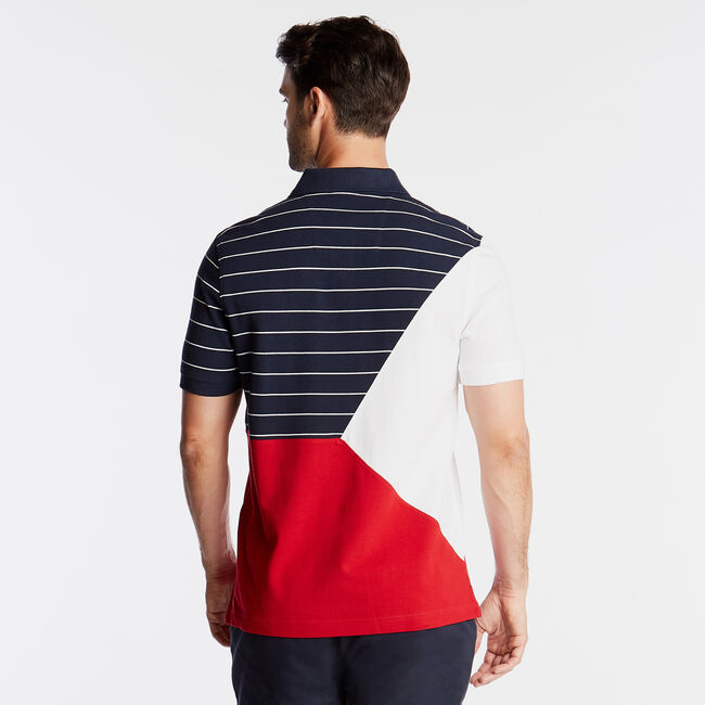 CLASSIC FIT POLO IN PIECED STRIPE & COLORBLOCK,Navy,large