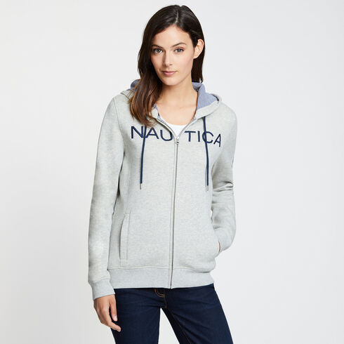 Logo Zip Hoodie - Grey Heather