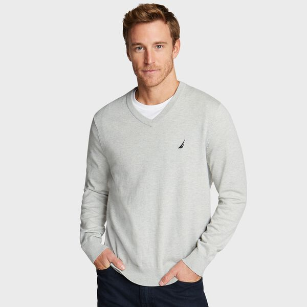 BIG & TALL V-NECK NAVTECH SWEATER - Grey Heather