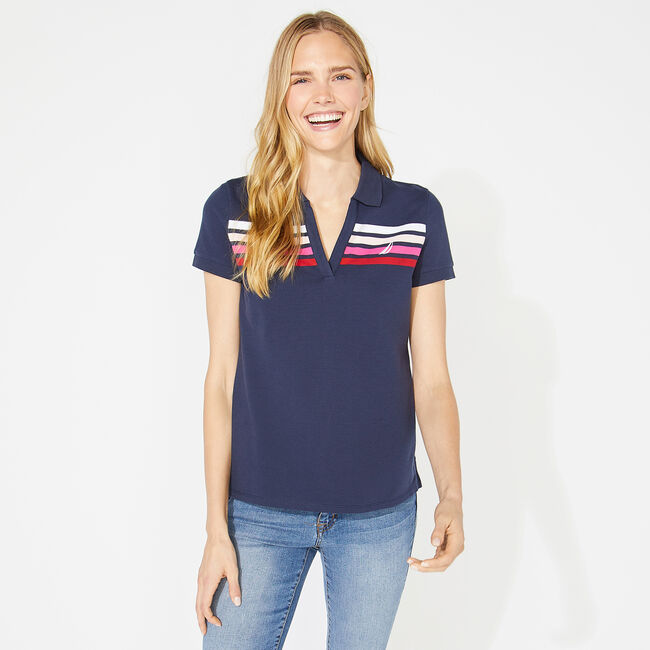 CLASSIC FIT OMBRE STRIPED POLO,Stellar Blue Heather,large