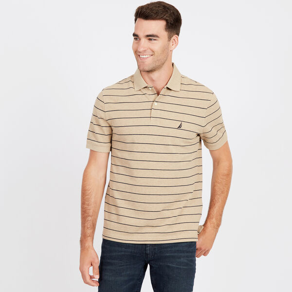 Classic Fit Mesh Polo in Breton Stripe - Espresso