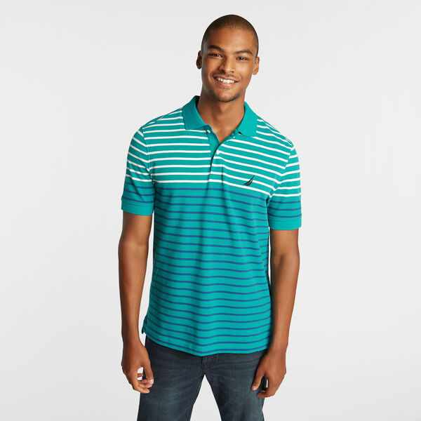 CLASSIC FIT PERFORMANCE POLO IN STRIPE - Gulf Coast Teal
