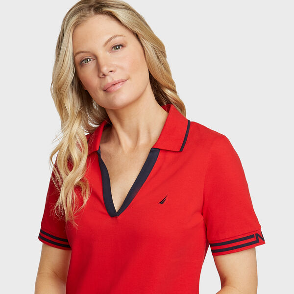 Elbow Sleeve Classic Fit Polo - Tomales Red
