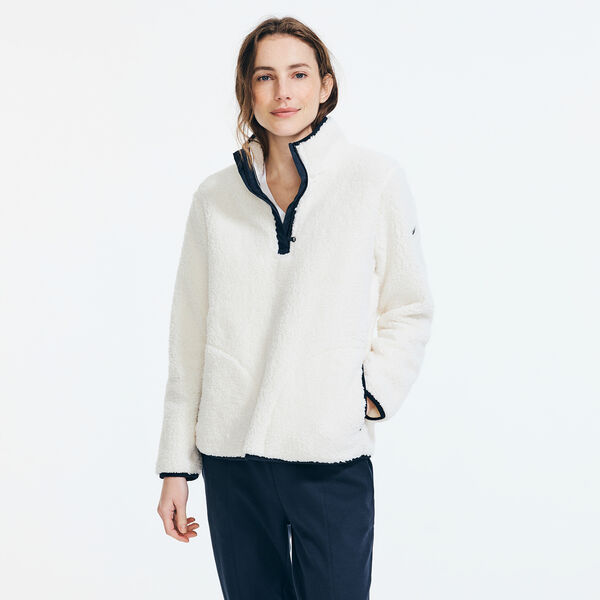 QUARTER-ZIP SHERPA PULLOVER - Marshmallow